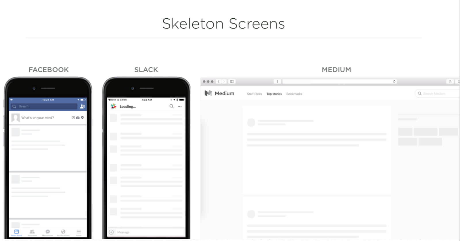 skeleton screens make a website feel faster.