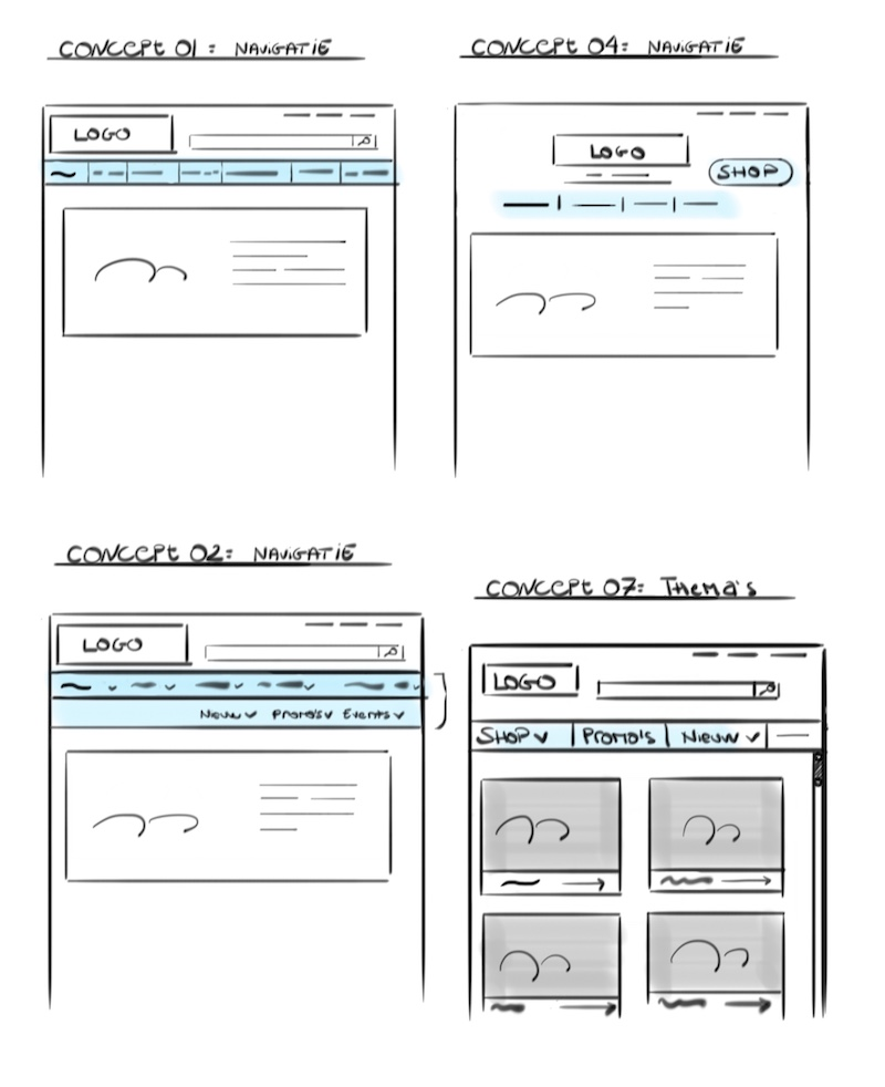 different concept sketches for the navigation